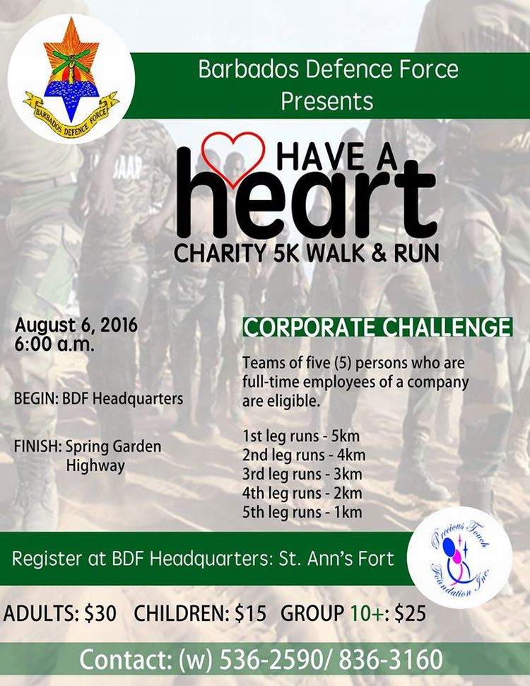 The Barbados Defence Force BDF Invites You To Join Them For Their Have A Heart Charity 5K Walk Run
