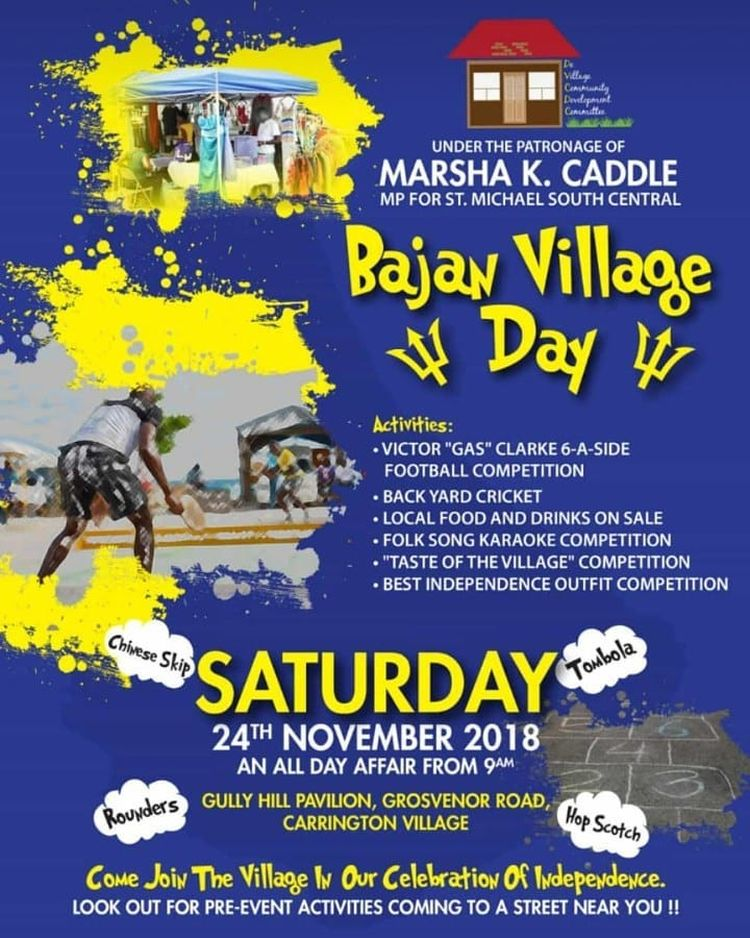 Take A Trip Down Memory Lane On 24th Nov With Bajan Village Day Under The Patronage Of Minister Marsha Caddle Mp For St Michael South Central