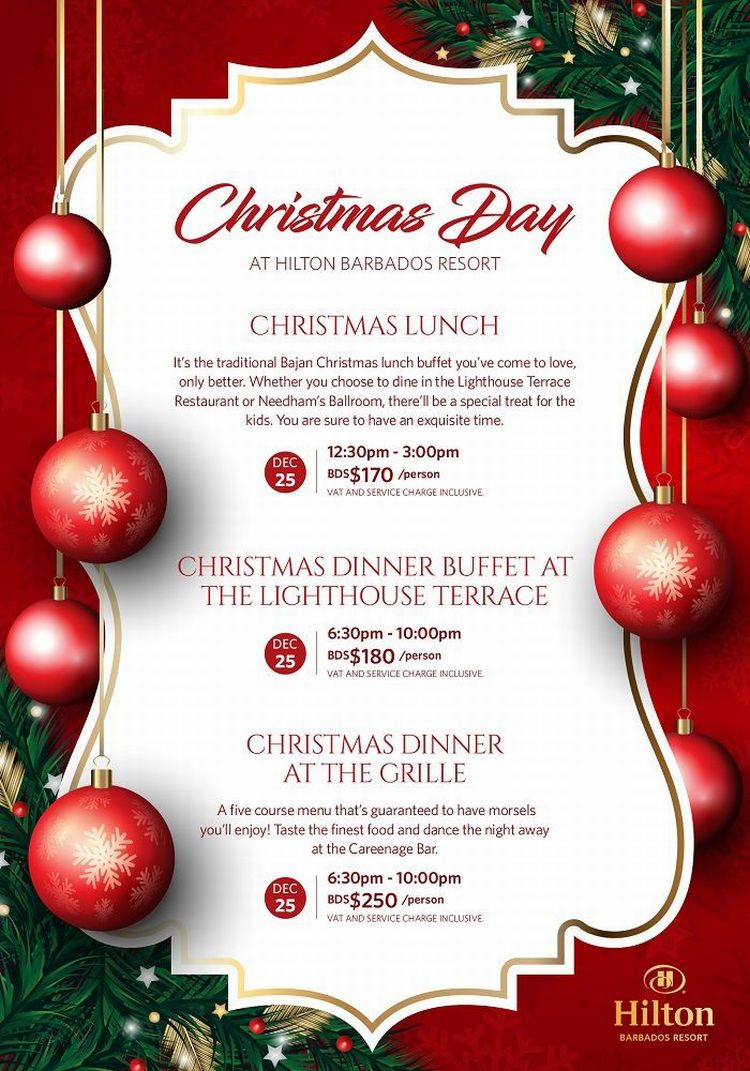 christmas day lunch and dinner at the hilton what s on in barbados