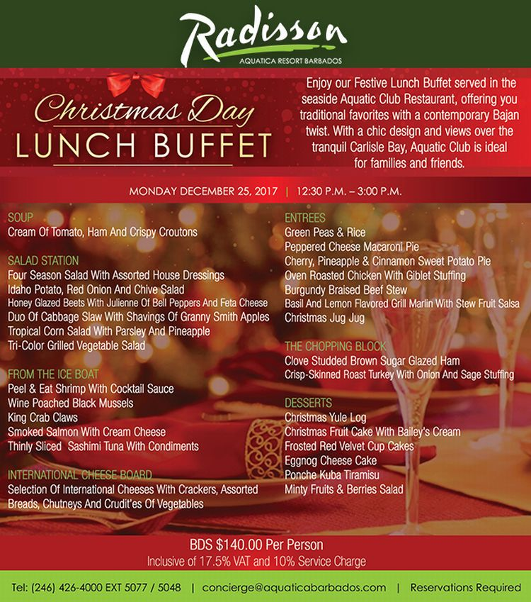 Christmas Day Lunch Buffet at The Radisson Aquatica - What's