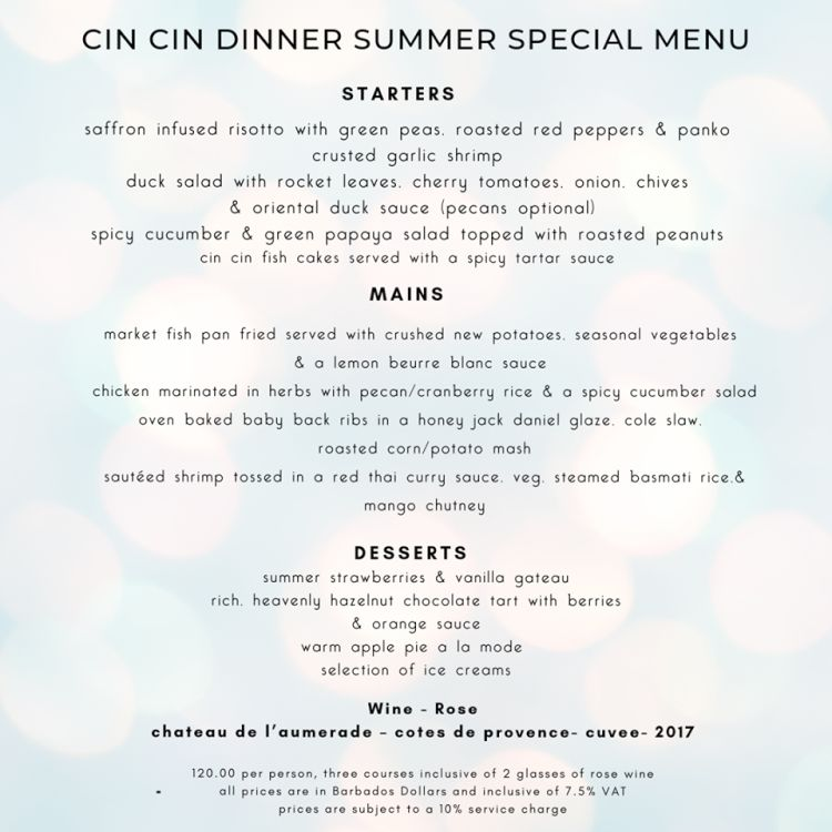 Cin Cin By The Sea Dinner Special 2019 - What's On In Barbados