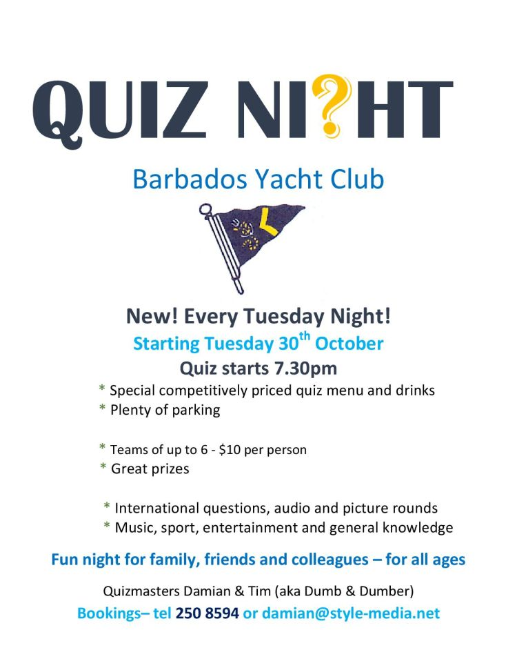 Quiz Night At The Barbados Yacht Club Whats On In Barbados 2019