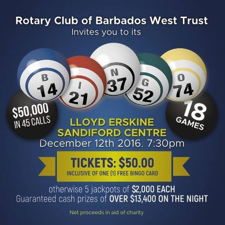The Rotary Club Of Barbados Is Celebrating 50th Anniversary Independence By Offering Biggest Bingo Game Jackpot Ever In Caribbean