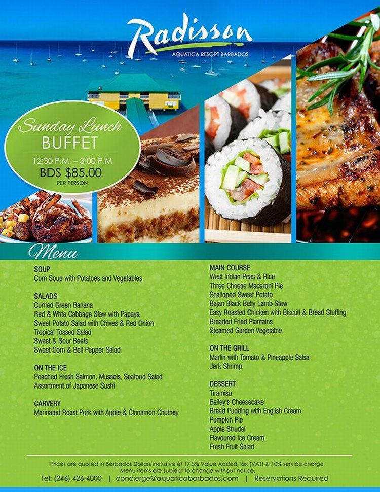 Sunday Buffet Lunch at The Radisson Aquatica - What\'s On In Barbados ...